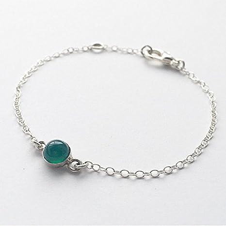 Pulsera de ágata verde – Pulsera de plata de ley verde esmeralda, pulsera de piedras preciosas de 6 mm