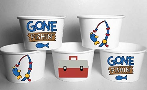 (Gone Fishin Party Cups Set of 12 Fishing Bowls)