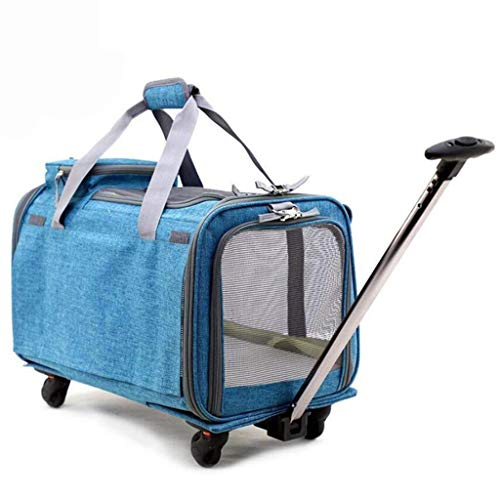 XMSG Pet Wheels Rolling Carrier, Removable Wheeled Travel Carrier for Pets up to 20 lbs, Panoramic Sunroof Super Breathable Trolley Case with Extendable Handle, 20