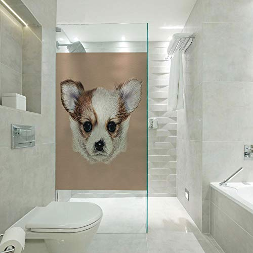 RWNFA Shower Room Window Film Glass Stickers,Puppy Portrait Cute Little Furry Friend Dog Pet Graphic Art,Customizable Size,Suitable for Bathroom,Door,Glass etc,Warm Taupe Beige Light Caramel