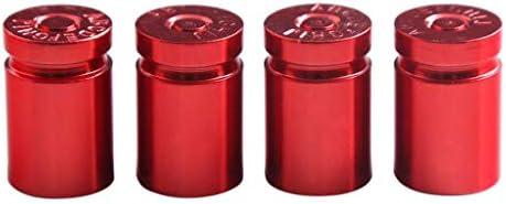 4ピース エアバルブキャップ タイヤステムバルブ 空気弁 車/オートバイ 汎用 耐久性 全4色 - 赤