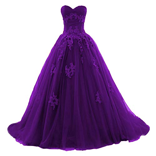Fair Lady Sweetheart Burgundy Appliqued Prom Dress Lace Long Tulle Ball Gown Evening Dresses