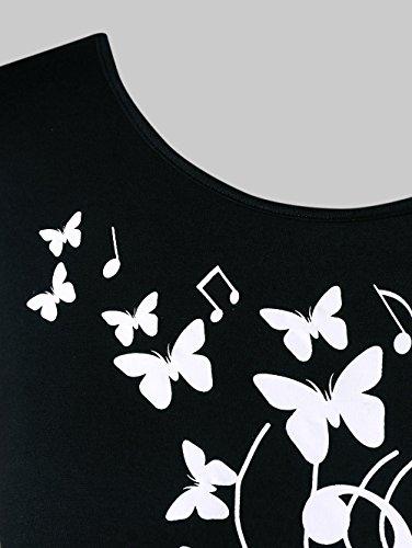 Crop Floral Sans Manches Noir Musical Amusterfemme Top Chemise Imprimer Note Blouse Tunique d4vpXxqw