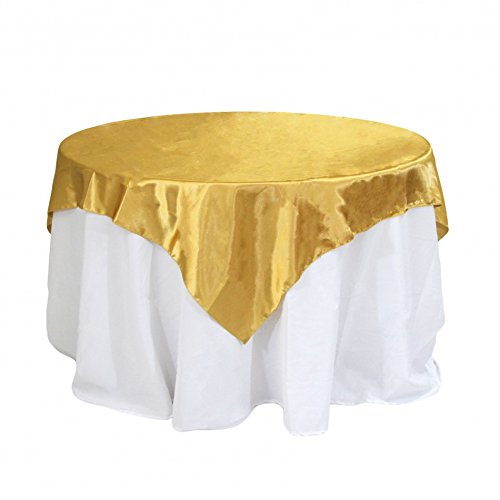 Koyal Wholesale Square Satin Overlay Table Cover, 60 by 60-Inch, Gold ()