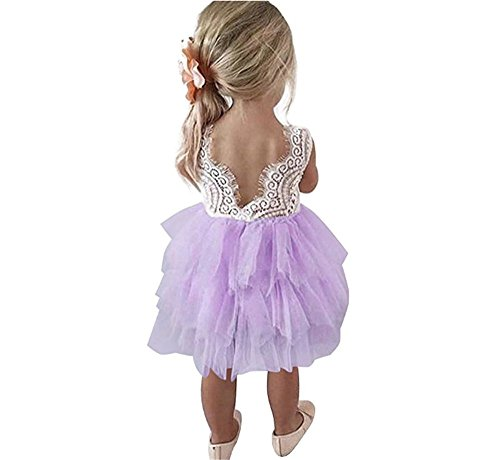 Toddler Baby Flower Girls Princess Tulle Dress Lace Backless Tutu A-line Beaded Party Dresses (Purple Tulle Flower Girl Dresses)