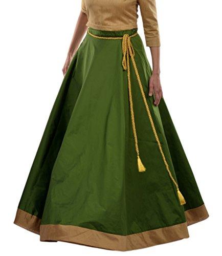 DeeVineeTi Women's Taffeta Silk Maxi Wrap-Around Long Skirt for Women Ethnic Wear Free Size (Green) (Long Skirt Taffeta)