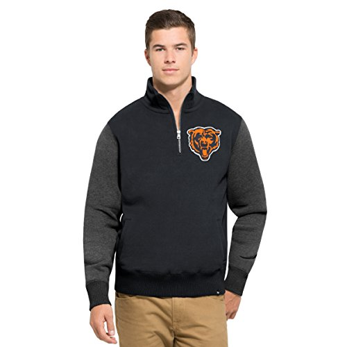 Bears Jacket - NFL Chicago Bears Men's 47 Triple Coverage 1/4-Zip Pullover Fleece, Large, Fall Navy