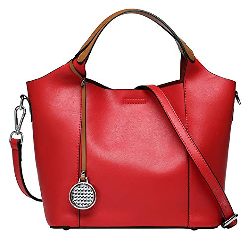 Saierlong Woman Style Casual Rouge Sacs en bandoulière en cuir véritable