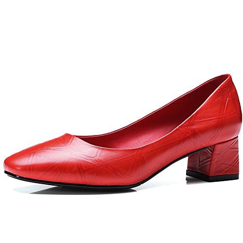Nine Seven Cuero Puntera Cuadrada Tacones de Vestir de Tacón Grueso para Mujer Rojo