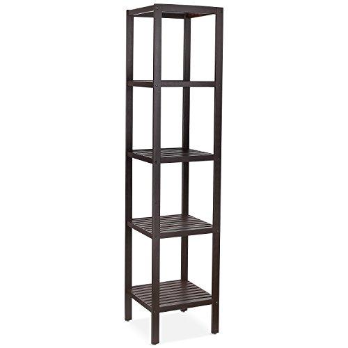 HOMFA Bamboo Bathroom Shelf 5-Tier Tower Free Standing Rack Multifunctional Storage Organizer(Retro Color)