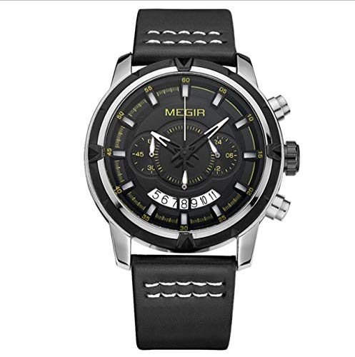 Megir Watch Sports Chronograph Waterproof Wrist Quartz Watches with Genuine Leather Band for Men 2047,Silver (Chronograph Genuine Leather)