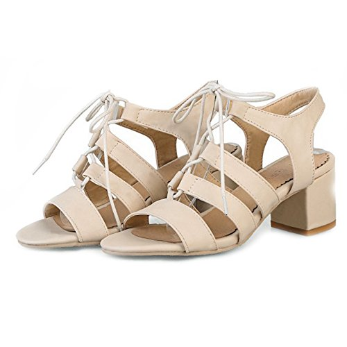 SJJH Roman Sandals with 4-Colors and Large Low Heel Sandals for Fashion Women Beige mRuBsY3