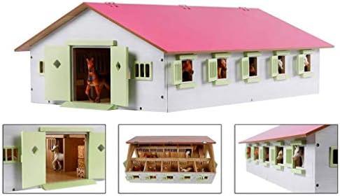 Kids Globe Farming Reiterhof 1:32, Bauernhof mit 9 Pferdeboxen, Pferdehof aus Holz, mit Faltdach, 610188, rosa
