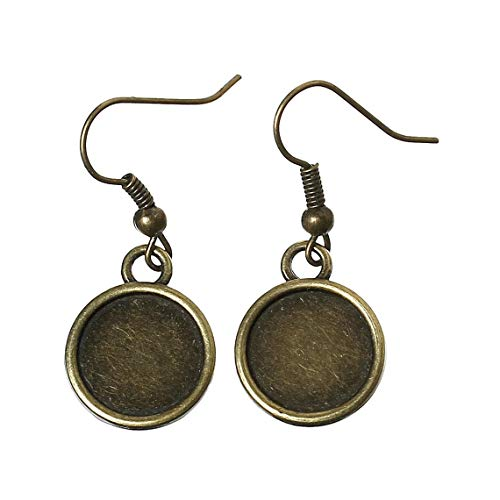 10 pcs. Antique Bronze Earring Dangle Hooks Settings Bezels Cabochons - 12mm Glue Pad Setting