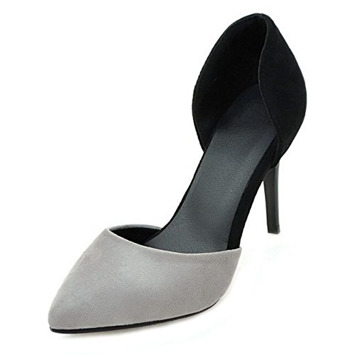 SJJH Stiletto Court Shoes Women Dressy Shoes with Plus Size 1 UK - 11 UK and 4-Colors Available Grey Bkp1L9Vzc