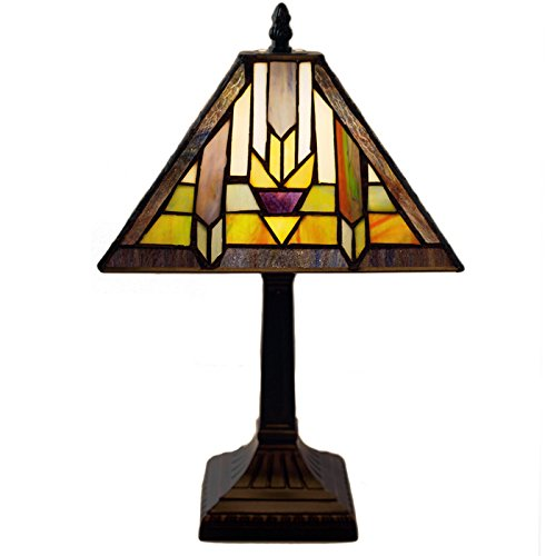 River of Goods 15.5-Inch H Mission Style Stained Glass Santa Fe Table Lamp
