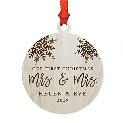 Andaz Press Personalized Lesbian Couple Wedding Laser Engraved Wood Christmas Ornament, Our First Christmas as Mrs. & Mrs. 2019, Snowflakes, 1-Pack, Includes Ribbon and Gift Bag, Custom Name ()