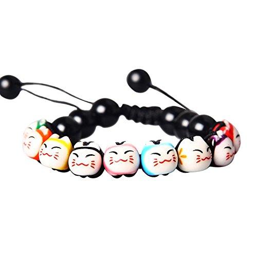 Merope J Handmade Womens 9 Lucky Cat Charm Ceramic Beads And Pine Stone Bracelets Adjustable (Black)