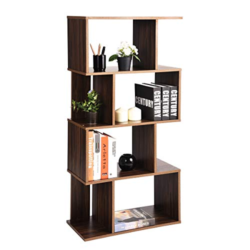 Bookcase Bedroom Modern - Coavas Geometric Industrial-Bookshelf Home Office-Bookcase with 8 Storage Spaces Modern Standing Storage-Shelf 2 Different Fits Organizer, Walnut