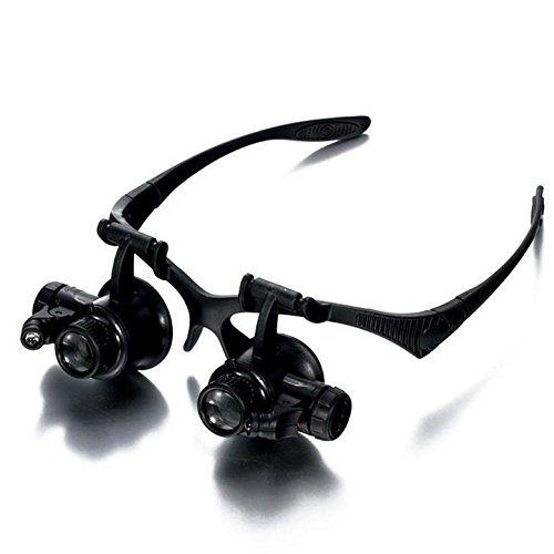 IAGW 10X/15X/20X/25X Eyeglasses Head Mounted Magnifying Glasses LED Light Detachable Lenses Jeweler Watch - Shop Repair Eyeglasses