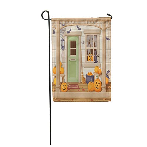 Tarolo Decoration Flag Beige House of Front Door and Porch Pumpkins Decorated for Halloween Brown Cartoon Home Thick Fabric Double Sided Home Garden Flag 12