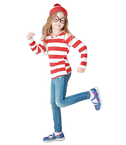 Hilary Ella Kids Where's Waldo Costume Funny Sweatshirt Outfit Glasses Suits ()