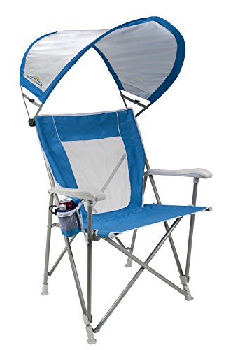 (GCI Outdoor Waterside SunShade Folding Captain's Beach Chair with Adjustable SPF Canopy)