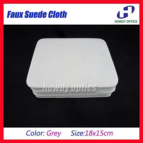 (HM-9G) Grey Microfiber Eyeglass Glasses Eyewear Lens Cleaning Cloth 18x15cm Faux Suede Material ()