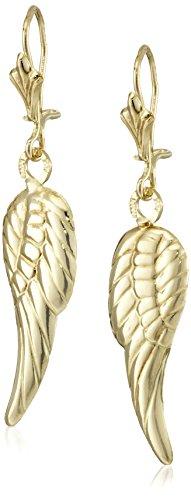 Earrings Angel Gold (14k Yellow Gold Angel Wing Drop Earrings)