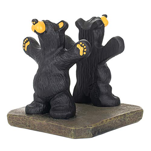 - Joe and Roscoe Bears Classic Black 7 x 6 Hand-Cast Resin Stone Napkin Holder