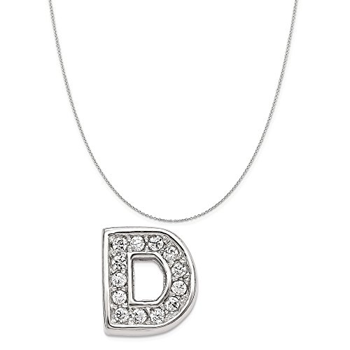 Gems Ready Letters - Sterling Silver Rhodium Plated Synthetic CZ Letter D Slide Charm on a Sterling Silver Cable Chain Necklace, 20