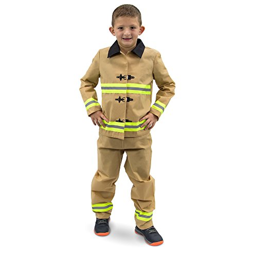 Fearless FirefighterChildren's Halloween Dress Up Theme Party Roleplay & Cosplay Costume, Unisex (S, M, L, XL) by Boo! Inc. (Youth Small (3-4))