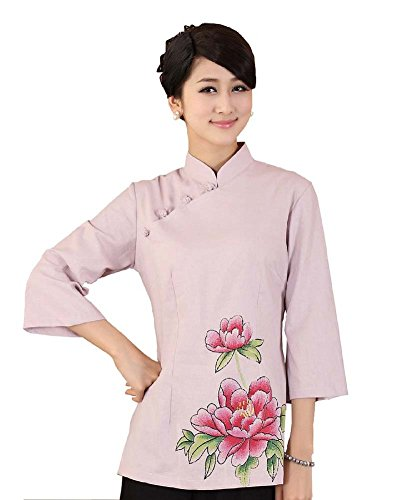 [AvaCostume Women's Chinese Lotus Floral 3/4 Sleeve Cheongsam Blouse Coat Size US 16 Pink] (Chinese Dynasty Costume)