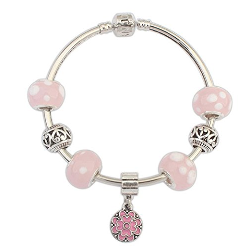 [Winter's Secret Europe and American Alloy Beads Pink Flower Pendant Charming Bracelet Character] (Arrest Shoes Adult)