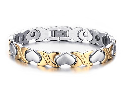Womens Love Heart Magnetic Therapy Stainless Steel Link Bracelet in Fine Gift Box, Gold Plated ()