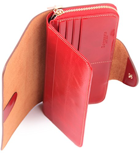 Borgasets Women's Wallet Trifold Ladies Luxury Leather Clutch Travel Purse with Zipper Pocket Red