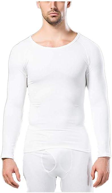 Ning Hombres Top Termal Capa Base Manga Larga Camisa De Compresion Faja Ajustada Y Ajustada para El Cuerpo,White,XL: Amazon.es: Deportes y aire libre