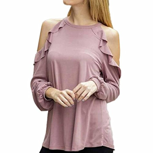 Women Ladies Cotton Blouse Sexy Cold Shoulder Long Sleeve Lotus Leaf Shirt Tops (M, Pink)