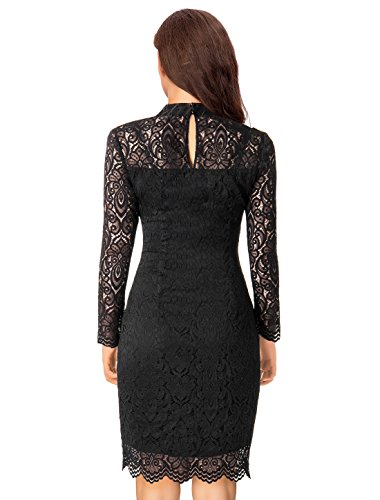 Noctflos Long Sleeve Lace Bodycon Scalloped Knee Length Cocktail Party Dress for Women