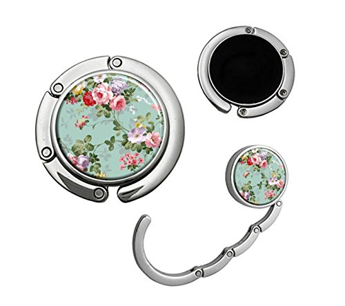 (Handbag Table Hook Foldable Purse Hanger Folding Decor Handbag Table Hook (Vintage Floral))