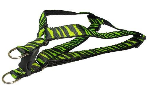 Black Zebra Dog - Sassy Dog Wear 18-24-Inch Green/Black Zebra Dog Harness, Medium