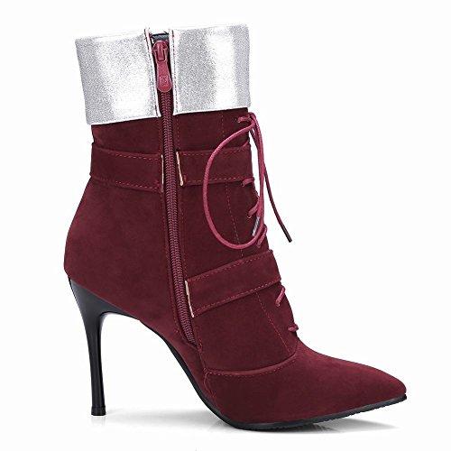 Mee Shoes Damen Stiletto Nubukleder Reißverschluss Stiefel Weinrot