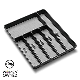 madesmart Classic Large Silverware Tray - Granite |CLASSIC COLLECTION | 6-Compartments| Kitchen Drawer Organizer | Soft-Grip Lining and Non-Slip Rubber Feet | BPA-Free