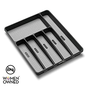 madesmart Classic Large Silverware Tray – Granite |CLASSIC COLLECTION | 6-Compartments| Kitchen Drawer Organizer | Soft…