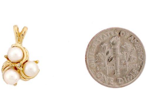 14ct Or Jaune Joli Pendentif Femme Triple Perles Et Diamant
