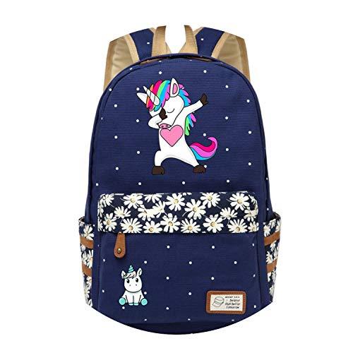 Gucci Canvas Hobo - Backpack For Women Girls Canvas bag Flowers wave point Rucksacks backpack travel Shoulder Bag,Navy Blue4