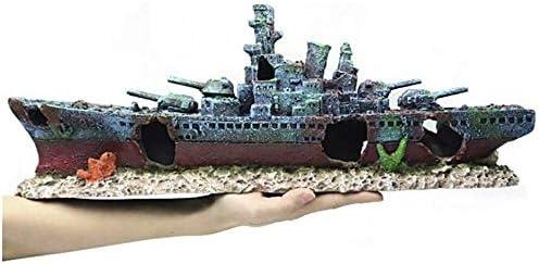 水槽 沈没船 大きいサイズ アクアリウム オブジェ オーナメント 置物 リアル 爬虫類 熱帯魚 観賞魚 飼育 インテリア 水族館作り アンティーク