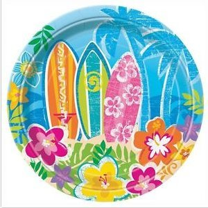 Hula Beach Party 8 pcs Dessert Cake Plates (Hibiscus Flower Pinata)