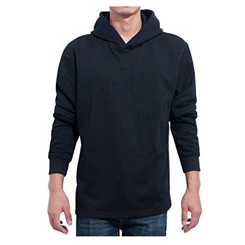 Manwan Walk Men's Slim Fit Lightweight Long Sleeve Hoodie W138 (Medium, Black)
