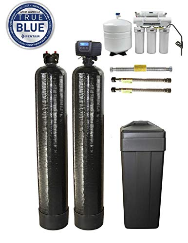 (ABCwaters WELL WATER Triple Combo Whole House Fleck 5600sxt 48,000 Grain Water Softener System + Upflow Carbon Tank + (HE) 5 Stage Reverse Osmosis Drinking Water Unit 75 gpd)
